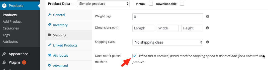 product shipping attribute
